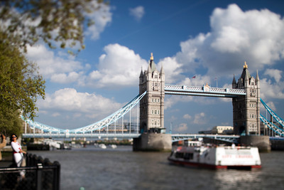 Tower Bridge from the Thames river north bank, London, England, United Kingdom. Tilted lens used for shallow depth of field.