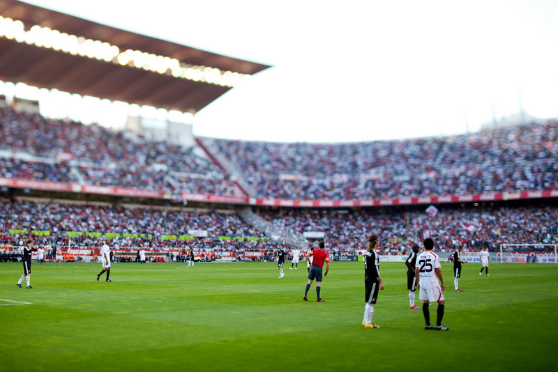 Spanish Liga football game between Sevilla FC and Real Madrid CF that took place at Sanchez Pizjuan stadium, Seville, Spain, on 26 April 2009. Tilted lens used for a shallower depth of field.