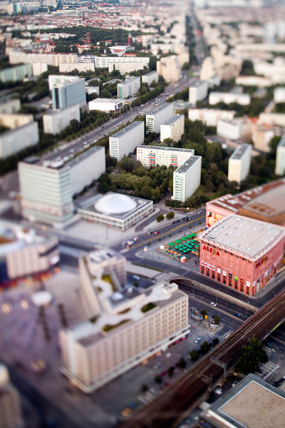 Aerial view from the TV Tower of Alexanderplatz area, Berlin, Germany. Tilted lens used for a shallower depth of field and to create, combined with the aerial view, a miniaturization effect.