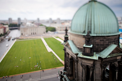View of Lustgarten from the dome of the Cathedral, Berlin, Germany. Tilted lens used for shalow depth of field.