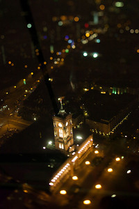 Aerial view of the City Hall, from the TV Tower, Berlin, Germany. Tilted lens used for a shallower depth of field and to create, combined with the aerial view, a miniaturization effect.