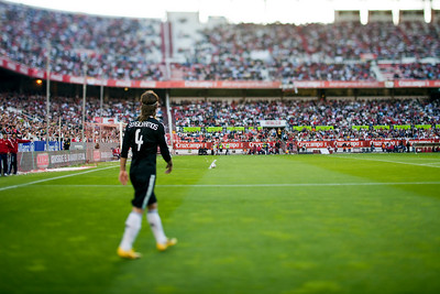 Sergio Ramos (Real Madrid). Spanish Liga football game between Sevilla FC and Real Madrid CF that took place at Sanchez Pizjuan stadium, Seville, Spain, on 26 April 2009. Tilted lens used for a shallower depth of field.