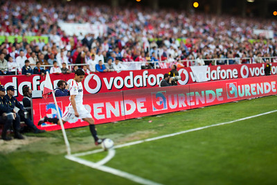 Sevilla's Renato performing a corner kick. Spanish Liga football game between Sevilla FC and Real Madrid CF that took place at Sanchez Pizjuan stadium, Seville, Spain, on 26 April 2009. Tilted lens used for a shallower depth of field.