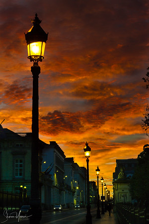Sunrise and lanterns on the streets of Brussels, Belgium