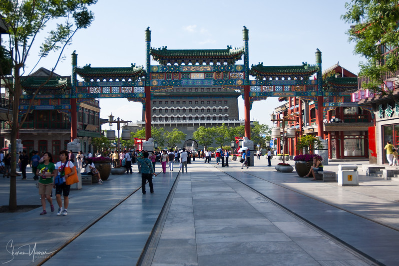 The gate at the end of Renovated Qianmen Street, Beijing, China
