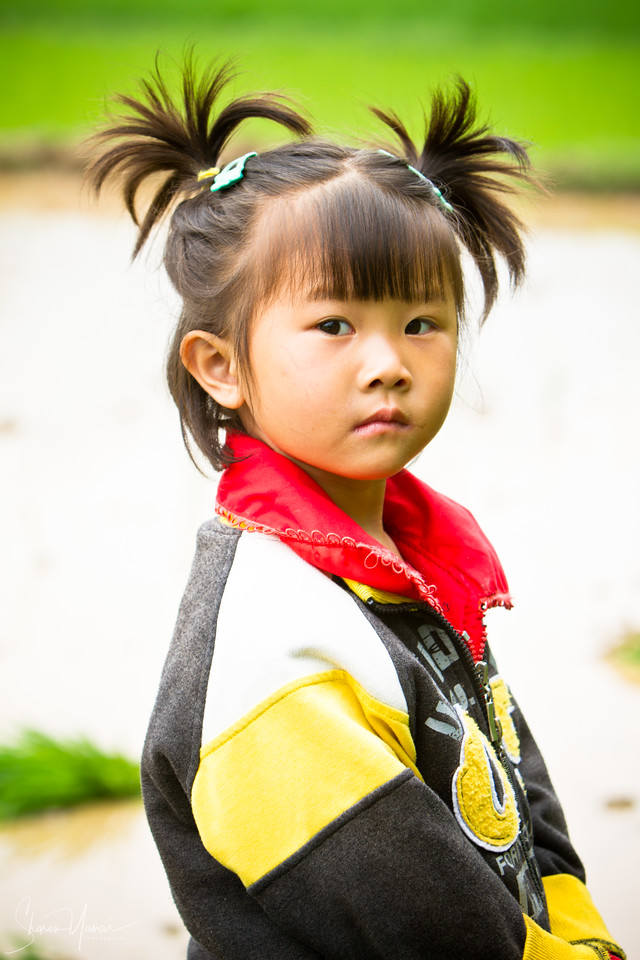 Nonexisting girl at the rice paddies of  Yangshuo