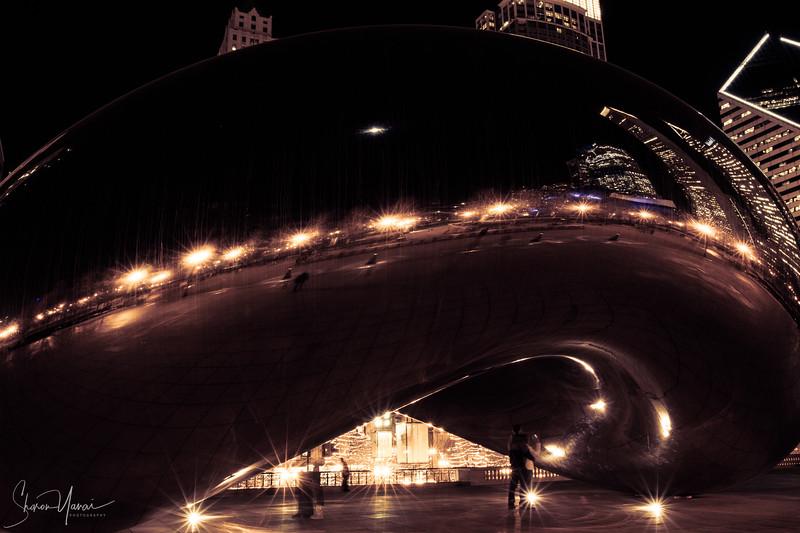Night at the Bean, Millenium park, Chicago, USA
