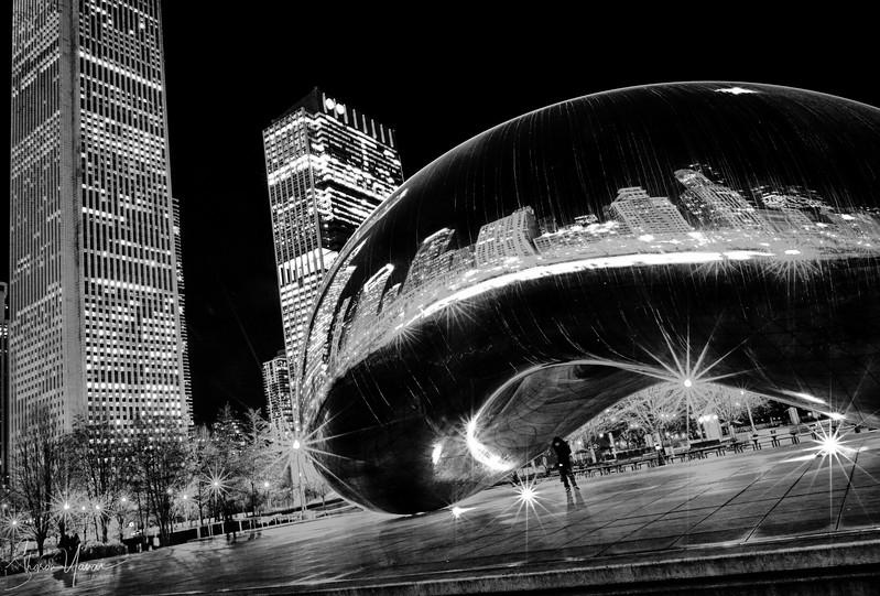 Buildings around the Bean at the Millenium park, Chicago, IL