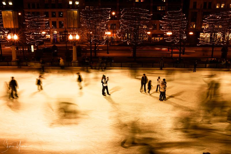 Winter night ski at the Millenium park, Chicago, USA