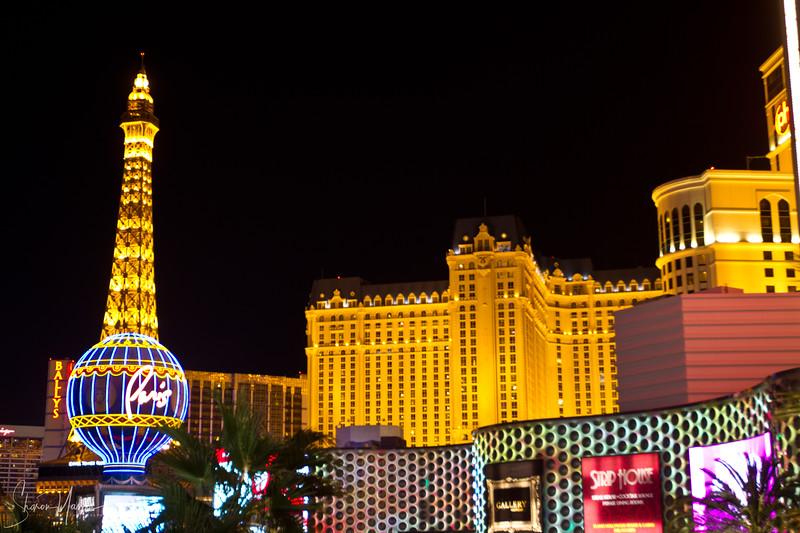 Night over Paris hotel, Las Vegas, Nevada, USA
