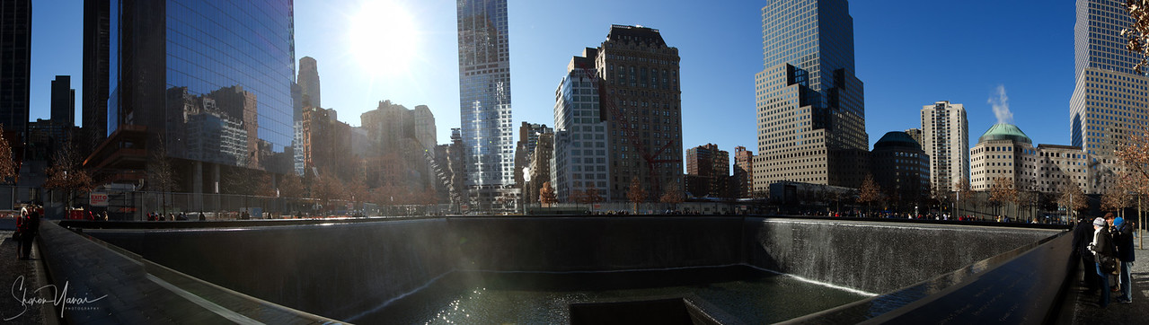 Panorama photo of the 9/11 memorial, Manhattan, NY, USA