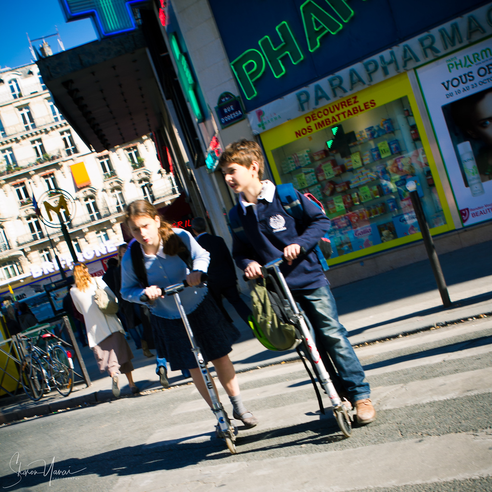 Kids on their way to school, Montparnasse, Paris, France