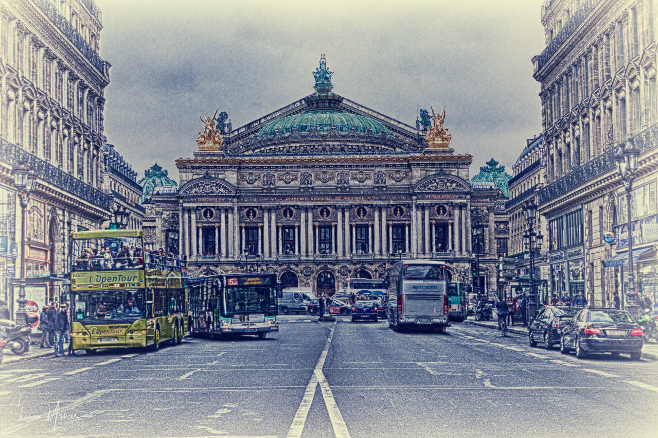 Surreal look of the Paris opera building, Paris, France