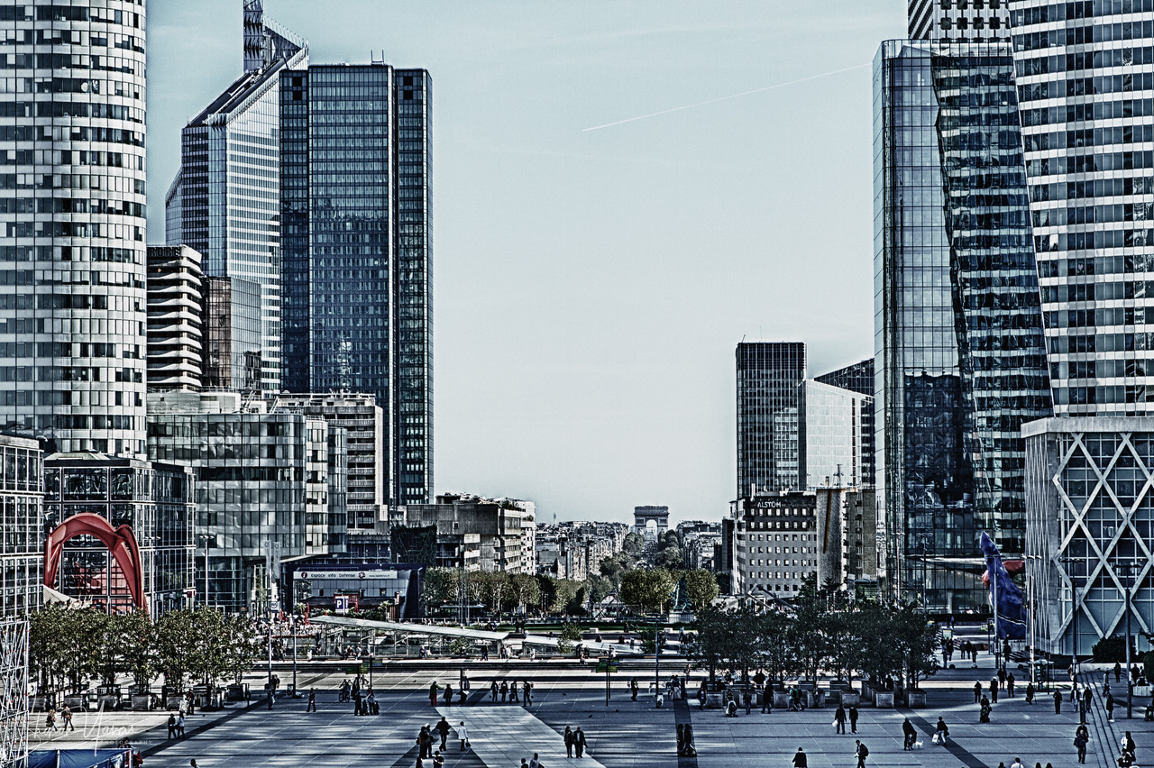 The view from Arc De Triomphe, La Defense, Paris, France