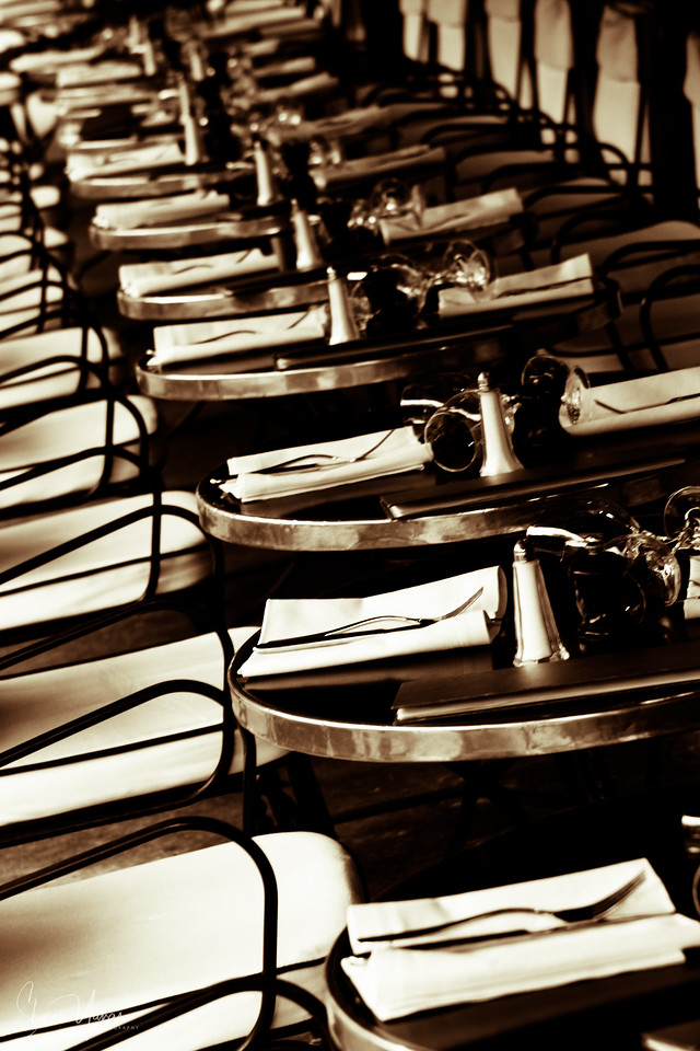 Empty tables at the cafe, Paris, France