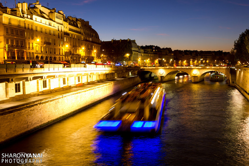 Boat on the seine river, Paris, France