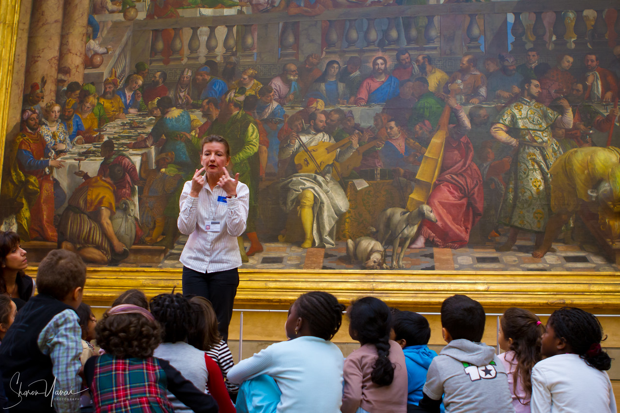 Inside the Louvre, kids learning, Paris, France