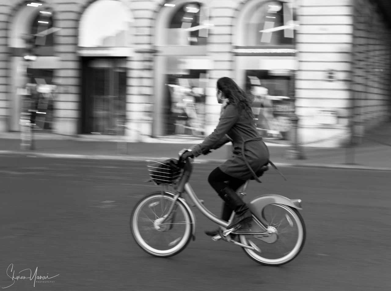 Riding bike on the streets of Paris, Paris, France