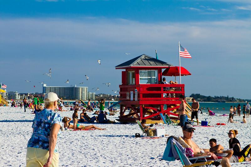Red lifeguard wood house at Siesta Key beach, Sarasota, Florida, USA