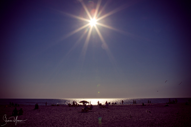 Sun above the beach at mid day