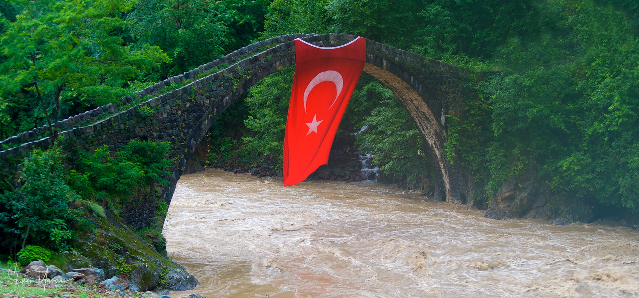The Turkish flag over the river, Kachkar, Turkey