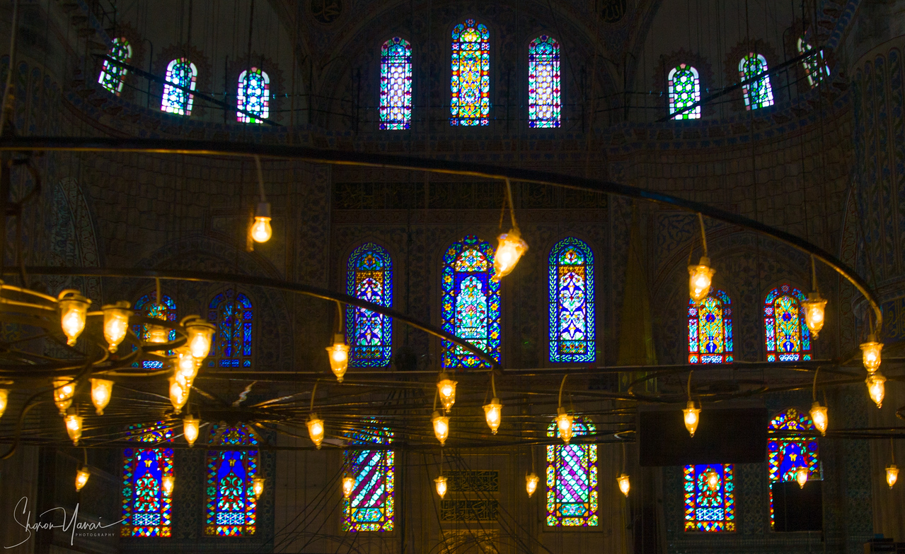 The inside of the Mosque of Sultan Ahmet I, Istanbul, Turkey