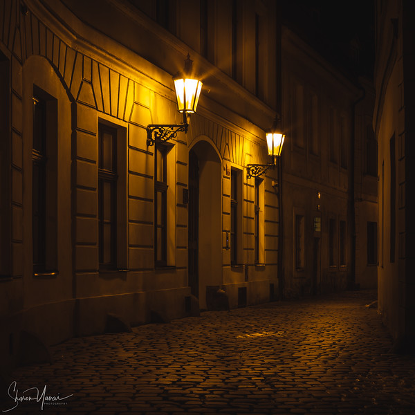 Prague Romantic Alley At Night