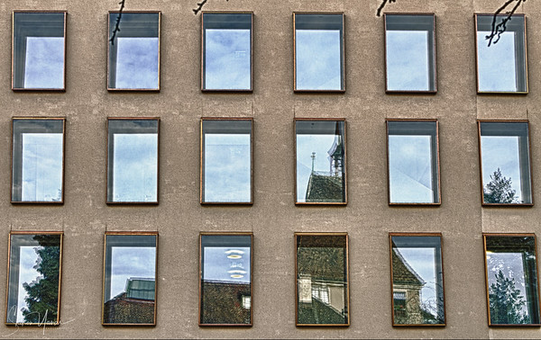 Mirror windows, Zurich old town, Switzerland