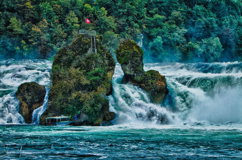 Approaching the rock in the middle of the Rhine Falls, Switzerland