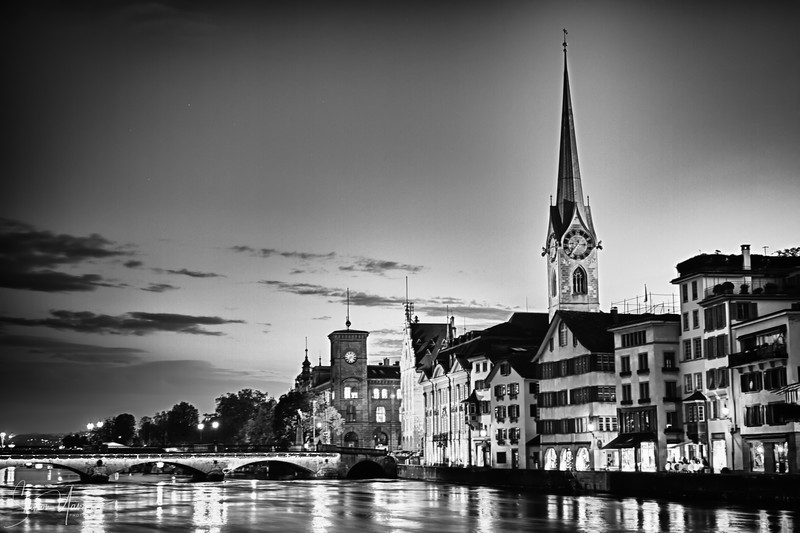 Zurich, Switzerland at nights in black and white
