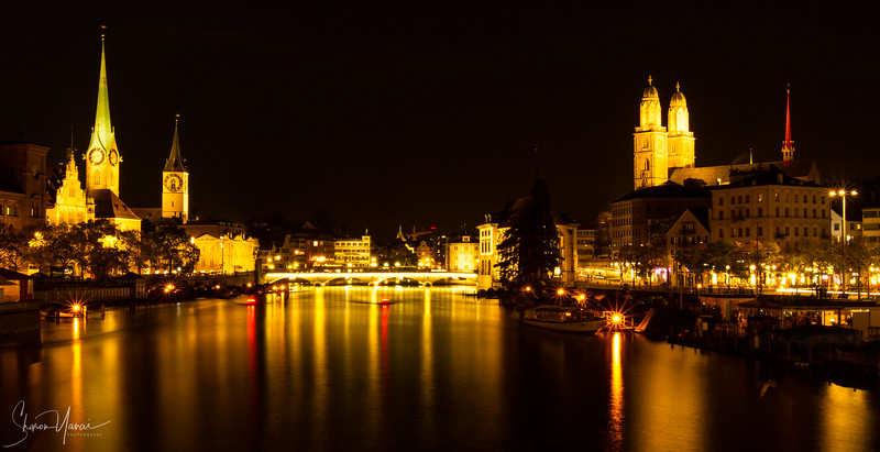 Panorama at night of Zurich, Switzerland old town