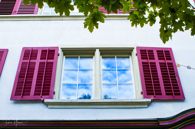 Pink and blue, Window, Zurich old town, Switzerland