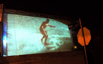 Projected Surf  Film outside at Hama Sushi in Venice