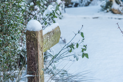 Snow on Public Footpath sign, 28 February 2018, Essex, England