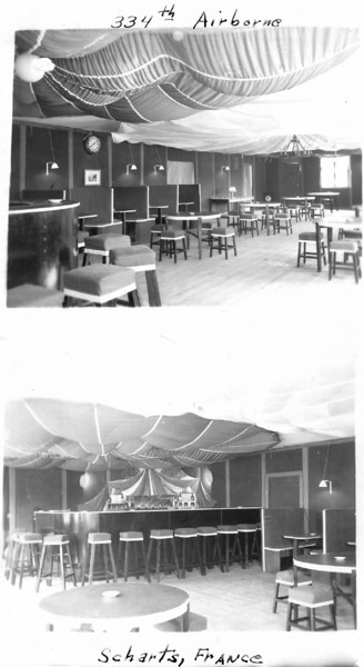 334th Airborne bar in Scharts, France - WWII<br /> <br /> photo contributed by Oliver Santagelo; 549th AAA AW Bn - Btry C