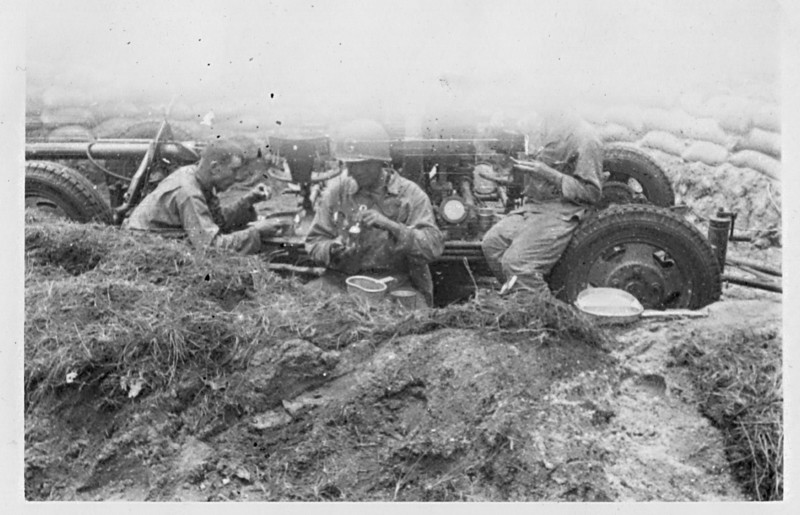 40 mm Gun Section - Chow Time <br /> <br /> 549th AAA AW BN BTRY C<br /> 87th Infantry Division.<br /> Involved in the Battle Of The Bulge - WWII.<br /> <br /> Photo credit - Mr. Wayne L. Luedke - 549th AAA AW BN Btry C