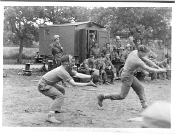 "Baseball - Camp Davis, MA Per Mr. Luedke -  "" We were all pretty good ball players – We even beat the Camp Davis camp team when we were there.""   549th AAA AW BN BTRY C 87th Infantry Division. Involved in the Battle Of The Bulge - WWII.  Photo credit - Mr. Wayne L. Luedke - 549th AAA AW BN Btry C"