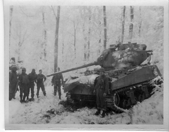 Battle of the Bulge- 1944-1945<br /> Sherman Tank and Crew.<br /> <br /> 549th AAA AW BN BTRY C<br /> 87th Infantry Division.<br /> Involved in the Battle Of The Bulge - WWII.<br /> <br /> photo credit - Mr. Wayne L. Luedke; 549th AAA AW BN Btry C