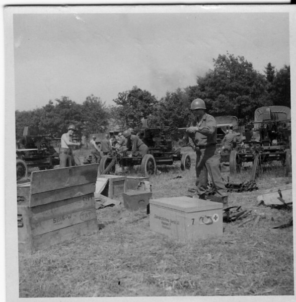 Cleaning 40mm AA Guns - 5th Gun  Section<br /> <br /> 549th AAA AW BN BTRY C<br /> 87th Infantry Division.<br /> Involved in the Battle Of The Bulge - WWII.<br /> <br /> photo credit - Mr. Wayne L. Luedke; 549th AAA AW BN Btry C