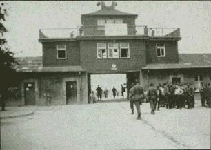 """Someone entering the main prisoners gate at Buchenwald, <br /> the concentration camp, on liberation day in April 1945.<br /> <br /> John S. Nelson II was an officer in the 87th Signal Company, responsible for the 87th Signal Company photos.<br /> <br /> His son, John III, also has censor's proofs of many combat and operations photos. <br /> He also has some interesting memorabilia...a section of communications cable they removed from behind enemy lines along the Siegfried line, <br /> and a waffen ss sword that he believes came from Buchenwald. <br /> <br /> Per Mr. Nelson's son:<br /> """"Friends,<br /> I have gone to Buchenwald each of the past two years - along with Koblenz, Bastogne, etc - trying to figure out where they really were. <br /> The written records are incomplete and contradictory. <br /> <br /> My dad died long ago after a tough life. It would be most helpful to find someone who knew him. <br /> <br /> I went to the 2003 reunion courtesy of Gladwin but no one there knew anyone from the 87th Signal Company. <br /> It also seemed like these were mostly enlisted men and the officers were - well, officers and separate.<br /> <br /> So I could really use some actual details, like how did they get to Buchenwald to take this photo? <br /> Can anyone help?<br /> <br /> Not many of my materials are scanned as they are in a scrapbook that I have been reluctant to disassemble. <br /> But I could if they would be of real value.<br /> <br /> Thanks in advance for any advice you can give.""""<br /> <br /> John S. Nelson III<br /> Son of John S. Nelson II; 87th Signal Company<br /> <br /> Update - June-2007<br /> Notice to Mr. Nelson III,<br /> Please contact me - I have lost your email address! - The 87th Association and many others are requesting to contact you with questions and info. <br /> Please place email here under comment, or email me - <br /> My email can be found on the 87th Infantry Division Associatioin web page:<br />  <a href=""""http://www.87thinfantrydiv"""