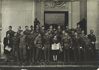 Submitted by: <br /> Jim Hennessey Co.E-345th<br /> 87th Infantry Division<br /> <br /> James and fellow wounded GI's.   <br /> On tour as guests of the Mayor of Paris - September 1945.<br /> Jim is bottom row, third from left.