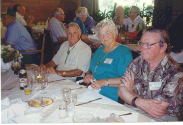 Joe Barvir (white shirt) and Mae Barvir at the luncheon served at a restaurant in Echternach, Luxembourg.<br /> June 1996 <br /> 87th Infantry Division Association Tour.