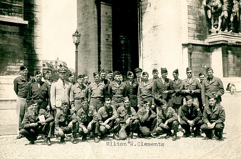 January 1945 at the Arc de Triomphe, Paris, France.<br />  <br /> Photo from a GI tour of Paris, France. T/Sgt. Clements received a three day pass to either Paris or Luxembourg City, and can be seen in the center of the first row. There is at least one other 87th soldier in this group: on the front row, the third fellow from the left is a T/Sgt sporting the Golden Acorn.