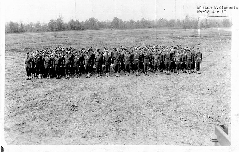 6 March 1943 - 347th Infantry Cadre - Camp McCain, Mississippi.<br />  <br /> Some of those shown in this photograph are:<br /> <br /> Albert Groebli (1st Sgt, Hq Co), Max F. Geigenberger (1st Sgt, AT Co), Albert G. Dickerman (1st Sgt, A Co), Henry F. Dowling (1st Sgt, C Co), Charles Micciche (1st Sgt, 2nd Bn Hq Co), James W. Sager (1st Sgt, F Co), John T. Oliver (1st Sgt, H Co), William R. Alexander (1st Sgt, I Co), Ernest Kline (1st Sgt, L Co), Joseph F. Ozwirk (1st Sgt, Service Co), Dallas J.B. Belden (1st Sgt, 1st Bn Hq Co), Leonard M. West (1st Sgt, B Co), Cecil G. Kniffen (1st Sgt, D Co), Edwin Nather (1st Sgt, E Co), Garvet E. Quesenberry (1st Sgt, G Co), Charles E. Eaton (1st Sgt, 3rd Bn Hq Co), John A. Flint (1st Sgt, K Co), Alpha J. Merceron (1st Sgt, M Co), Milton W. Clements, Jr. (T/Sgt)