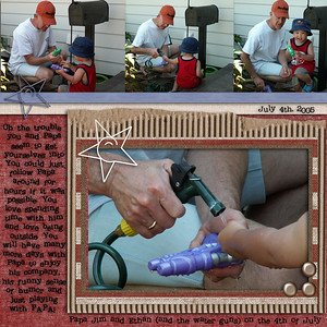 Just some pictures of Ethan and his papa playing w/ water guns on the 4th of July (2005) *************************** All elements are Nikki Meador Love of Country  Font is Problem Secretary