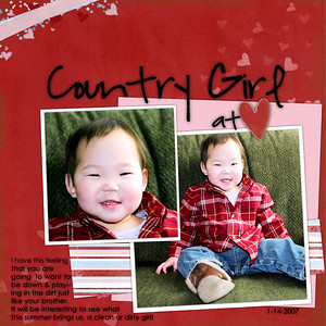 Ahh gotta love a little on in a flannel! Actually it was one of Ethan's old ones that still had a tag on it!! ************************* Shawna Clingerman and Dani Mogstad year of memories kit (feb) Melissa Lewis template (from set# 5, template# 15) Font is Highland Perk & Century Gothic