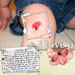 Bella's first Owie   Her first meeting w/ the driveway pavement! =) ***************************** For Recipe challenge at Sweet Shoppe Flower is Andrea Burns Blog Freebie Note Card & Frame is Robin Carlton Junk 2 Write I love you is Robin Carlton Mom/Dad Template I love you papers are SP Signature Collection Envelope Tie is Laura Deacetis Sasparilla Photo Stitching is Shabby Princess I love you/Flower/note card stitching is Gina Miller Messy Stitches Note Card corner & background paper is Shabby Princess Olivia Collection Font is Highland Park