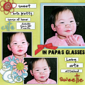 She was soo stinkin cute trying on Papa's glasses!!!  **************************** Teresa Ferguson FREE sketch for the cookie decorating challenge Huni Buni & Dani Mostad Spring Chick kit Font title is 28 days and words on tags are highlend park