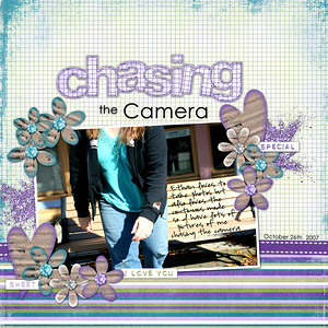 Ethan LOVES taking photos (and I can't wait for xmas his grandparents are getting him his own REAL camera!!), but he loves the continuous mode so we tend to have lots of pictures of me chasing the camera to stop him! LOL ******************** Robin Carlton & Traci Reed He Loves Me kit fonts: Century Gothic & Highland Perk