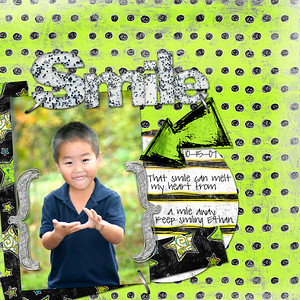 "Lauren Grier aah-rie Kit Robin Carlton Sprinklebets ""Smile"" letters Kate Hadfield Heavy Duty Staples  Font is Pea sdflenner"